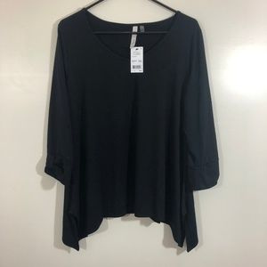 NWT NY Collection sz 1X Black Shirt 3/4 Sleeves